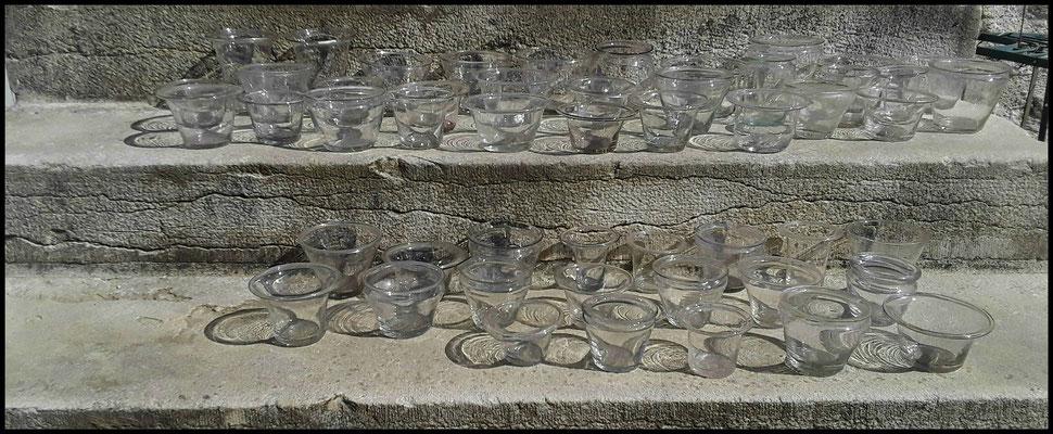 verrines en verre soufflé  XVIII°siècle.confiture,