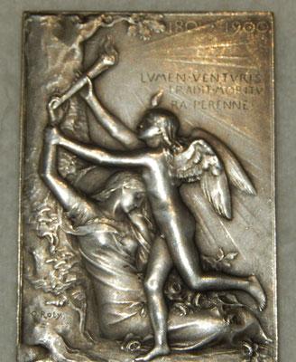 médaille en bronze argenté  5 x 3,5 par O .Roty .exposition universelle internationale de Paris 1900 .prix : 130 euros