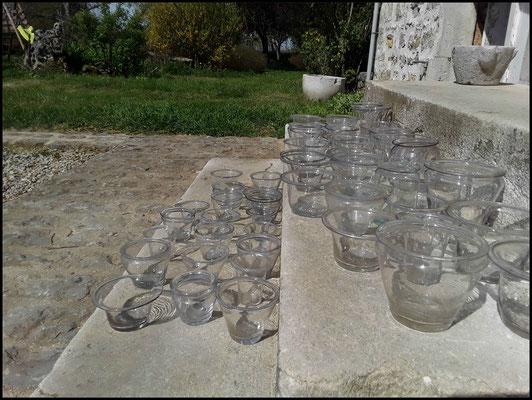 verrines à confiture pot a confiture ancien verre soufflé XVIII° siècle