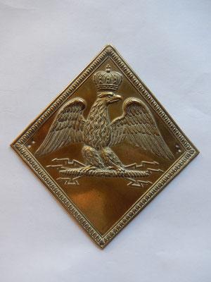 plaque de shako infanterie de ligne model 1806 11 x 12 cm Prix : 500 euros