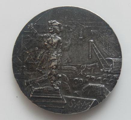 médaille en argent  chargement déchargement des wagons sur les voies ferrées Dunkerque ,par Jp Legastelois.36 gr ,40 mm .prix 55 euros