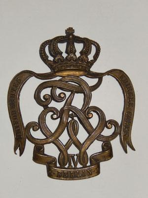 plaque de colback de hussard milieu XIXème, manque les attaches arrière  Prix : 180 euros