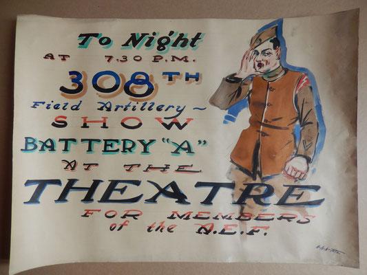 semur en auxois affiche AEF ww1. American Painted Posters World War I A. E. F