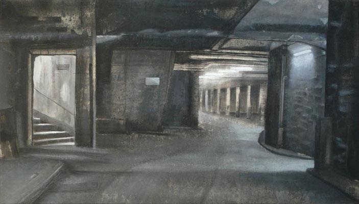 2009, Großmarkthalle - Keller, Acryl auf Leinwand, 90 x 140 cm