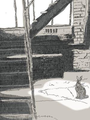 2018, Fredenhase, Acryl hinter Plexiglas, 60 x 90 cm