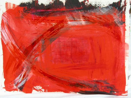 rote Schwingung |  30 x 40  |  Öl u. Tusche auf Karton |  2012