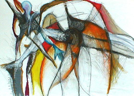 Sonnengruß  |  Acryl, Öl auf Karton  |  70 x 100  |  2005