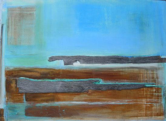 Bateaux Mouches  |  110 x 150  |  Oxidation, Holz, Acryl auf Leinwand  |  2014