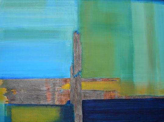 Weitblick |  110 x 150  |  Oxidation, Holz, Acryl auf Leinwand  |  2014