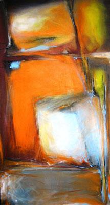 gelb orange vernetzt  |  70 x130  |  Acryl auf Leinwand  |  2011