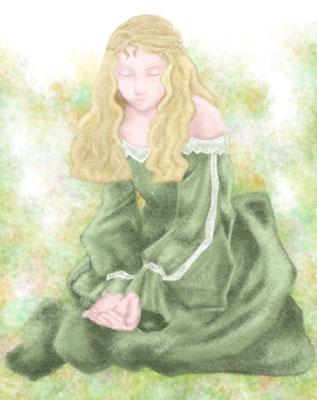 ヒロインのインドラ。小説のイメージ絵