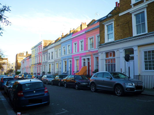 Bunte Häuser in Notting Hill