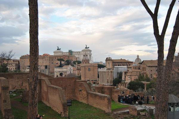 Blick vom Palatinhügel ins Forum Romanum in Rom