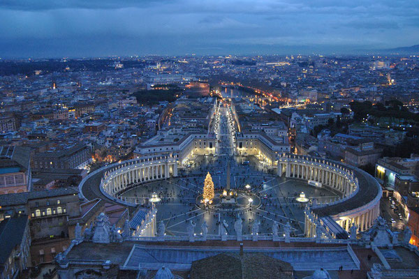 View at St. Peter´s Square in Rome from the dome of St. Peter´s Basilika