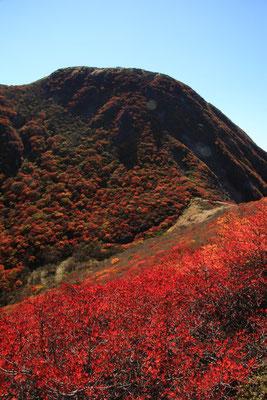 三俣山北峰東斜面より本峰を望む