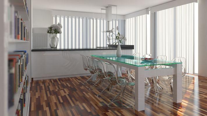 Innenraum Kochen/Essen 3D-Visualisierung Architektur