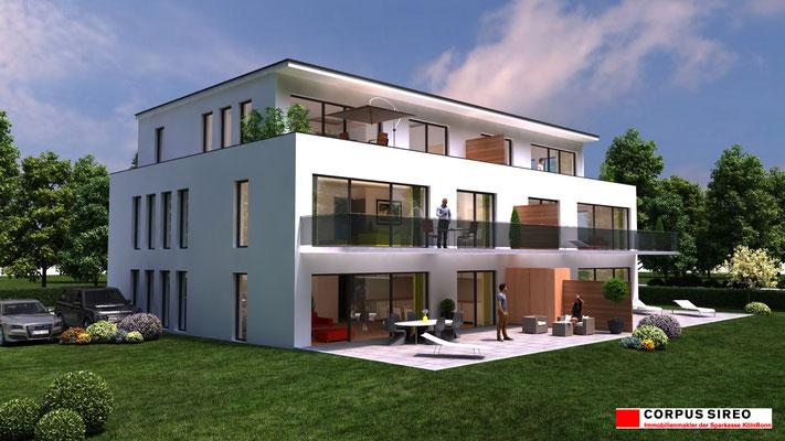 Mehrfamilienhaus 3D-Visualisierung Immobilien