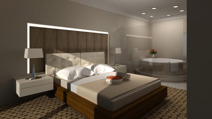 Innenraum Hotel 3D-Visualisierung Architektur