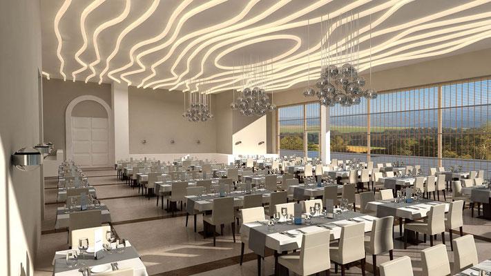 Innenraum Restaurant 3D-Visualisierung Architektur