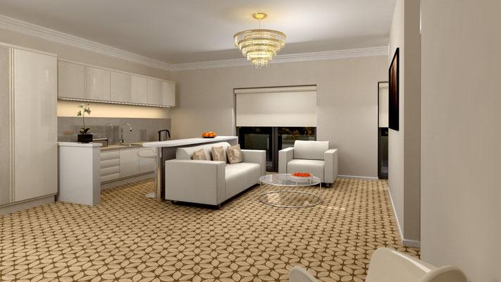 3D-Visualisierung Hotelzimmer Wohnbereich Architektur-Entwurf