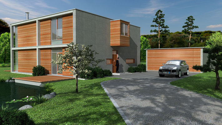 Einfamilienhaus 3D-Visualisierung Architektur