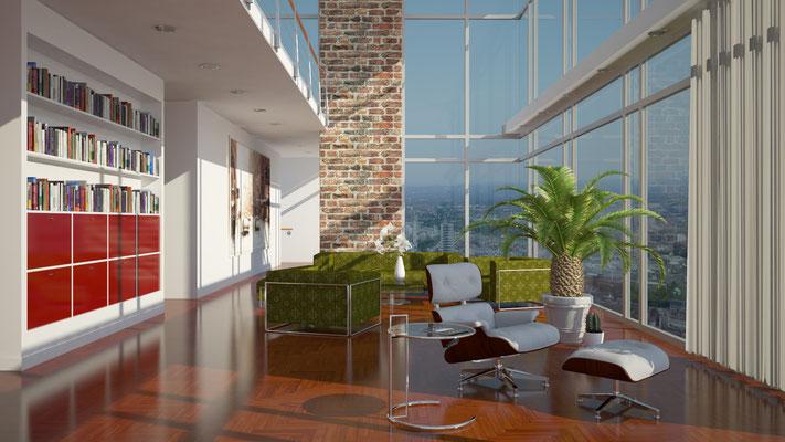 Innenraum Wohnzimmer 3D-Visualisierung Architektur