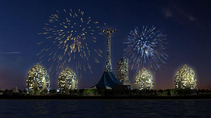 Hotel-Insel 3D-Visualisierung Architektur
