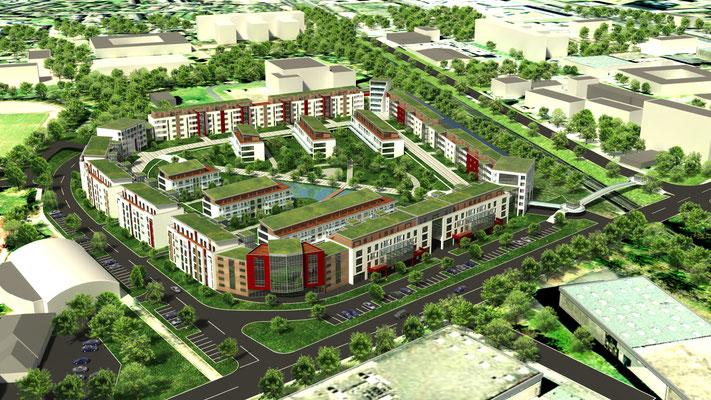 Siedlungsprojekt 3D-Visualisierung Architektur