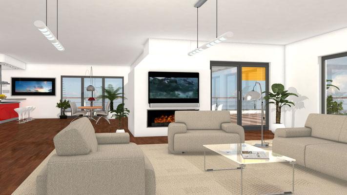 Innenraum Wohnloft 3D-Visualisierung Architektur