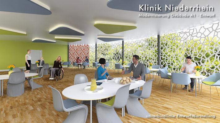 Innenraum Cafeterria 3D-Visualisierung Architektur