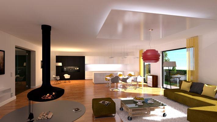3D-Visualisierung Wohnzimmer Architektur-Entwurf_05 Kaminofen
