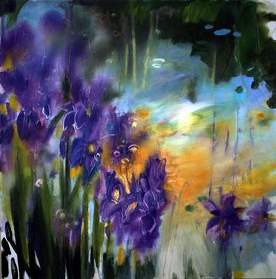 Iris olio su tela cm 80 x 80 (2)