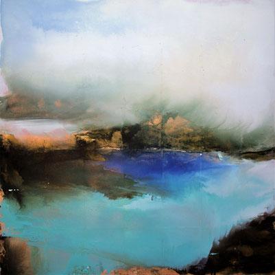Lago del Cornino olio su tela e foglia oro cm 100 x 100