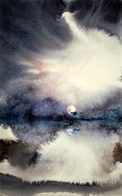 Nuvole e luna 2 acquerello cm 25 x 42