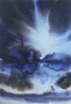 Nuvole e Luna 1 acquerello cm 58 x 38