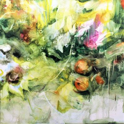 Raccolta di Fiori e bacche d'autunno olio su tela cm 80 x 80