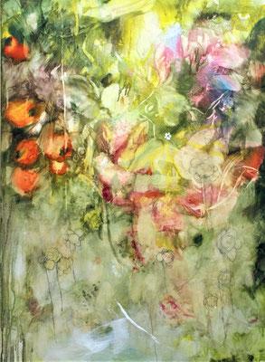 Raccolta di Fiori e bacche d'autunno olio su tela cm 110 x 80