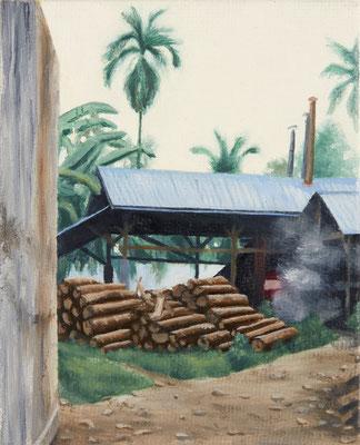 o.T. (tofu factory), oil on canvas on cardboard, 10 x 6 cm