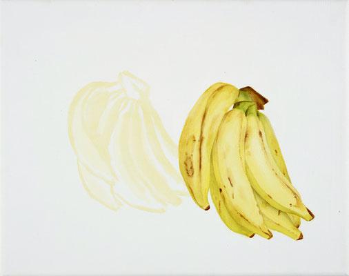 bananas, oil on canvas, 24 x 30 cm