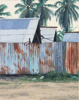 o.T. (rusty fence), oil on canvas on cardboard, 10 x 6 cm