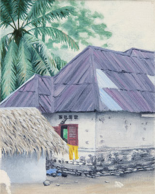 o.T. (purple roof), oil on canvas on cardboard, 10 x 6 cm