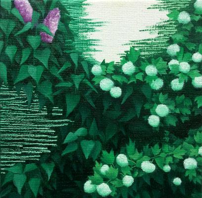 Dickicht #2, oil on canvas on cardboard, 10 x 10 cm