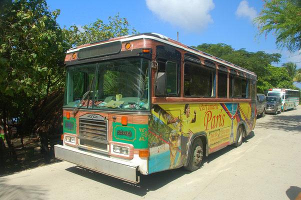 Der Chickenbus fährt rund um die 13km lange Insel