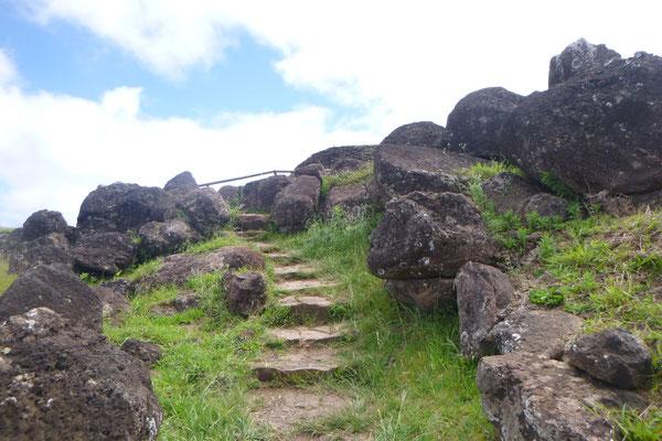 Zeremoniendorf ORONGO am Kraterrand des RANO KAO