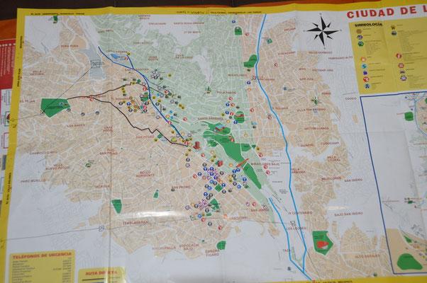 Von LA PAZ gibt es keinen Gesamtstadtplan. Es ist einfach zu gross. Hier CENTRO HISTORICO