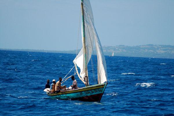 Haitianische Fischer auf See