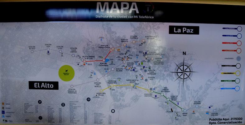 MAPA DE TELETRAFICO de la futura. Es wird 7 Lineas geben. Drei sind bereits in Betrieb