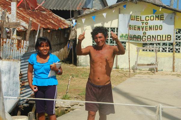 Anlegebegrüßundg auf Cayo de Azucar