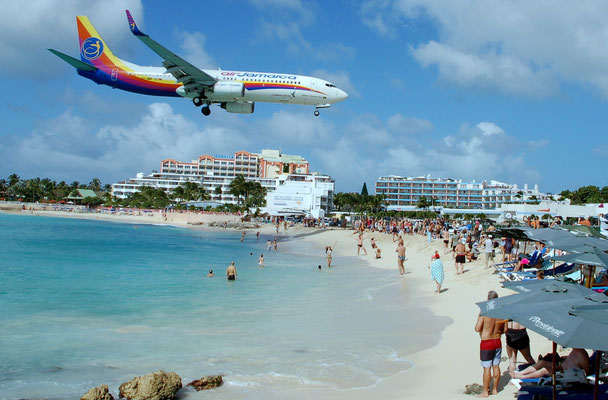 Maho Beach, die Attraktion schlechthin