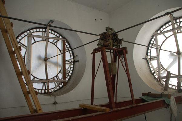 Per Getriebe werden auf allen vier Seiten die Uhren bewegt